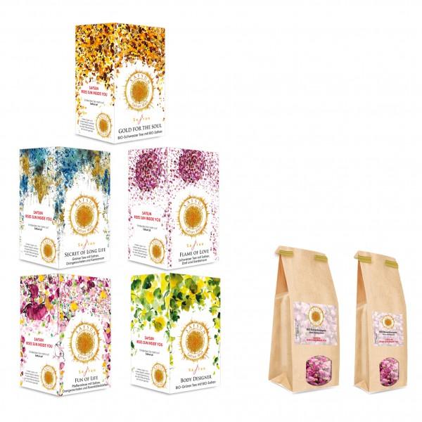 Bundle gesamt- Bio- und Konventionelle Tees und BIO Rosenknospen-50 und 250 Gramm